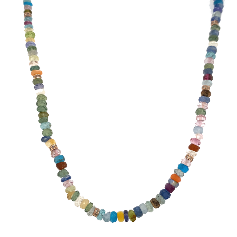 Multi-Gem Bead Necklace - Lesley Ann Jewels