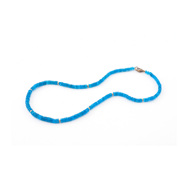 Blue Apatite Necklace with Gold Rondelle - Lesley Ann Jewels