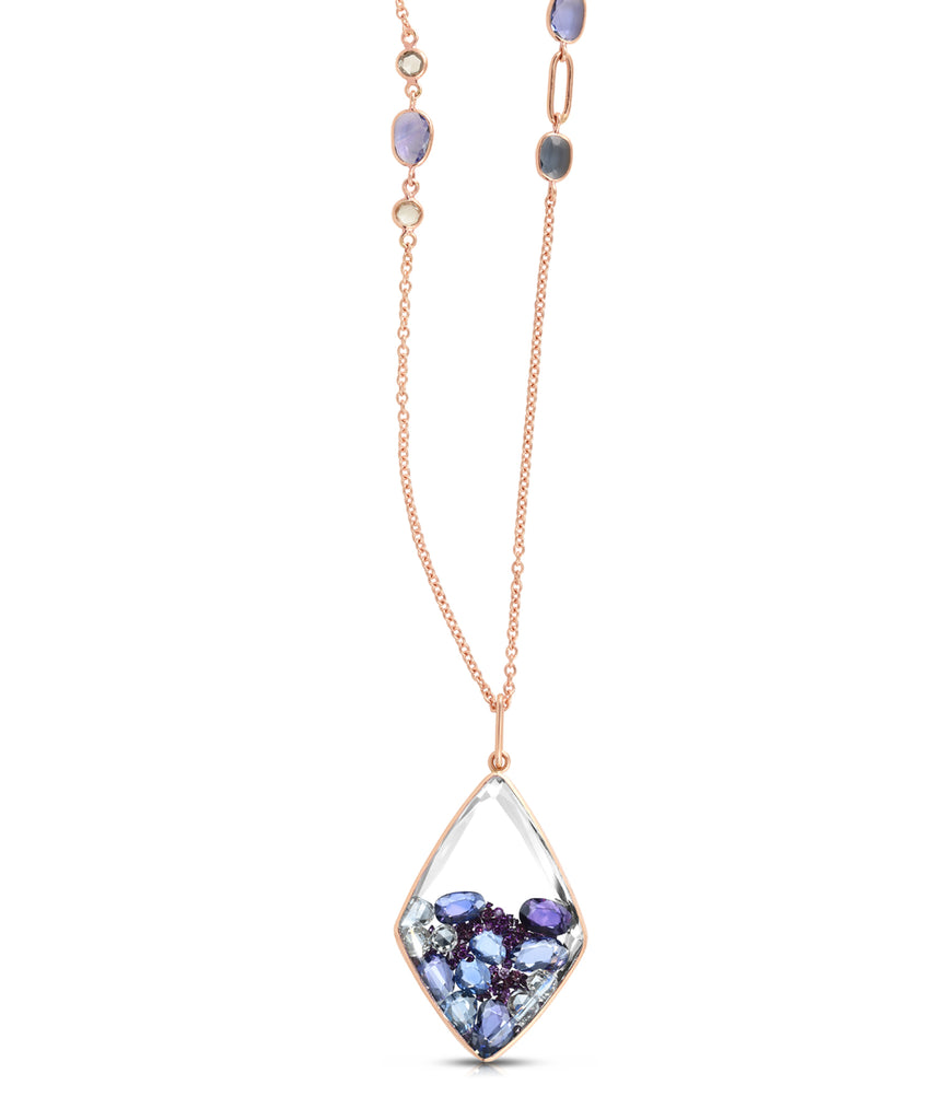 Kaleidoscope shaker necklace with blue and purple sapphires and diamonds