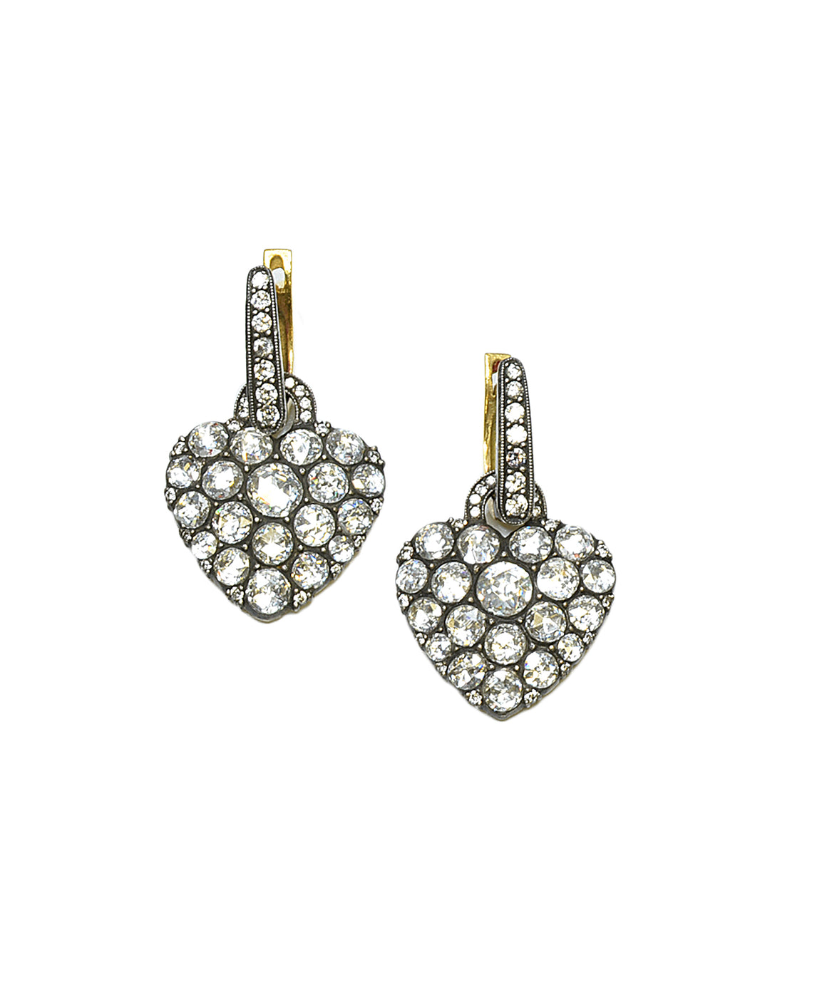 Heart earrings with rose-cut diamonds