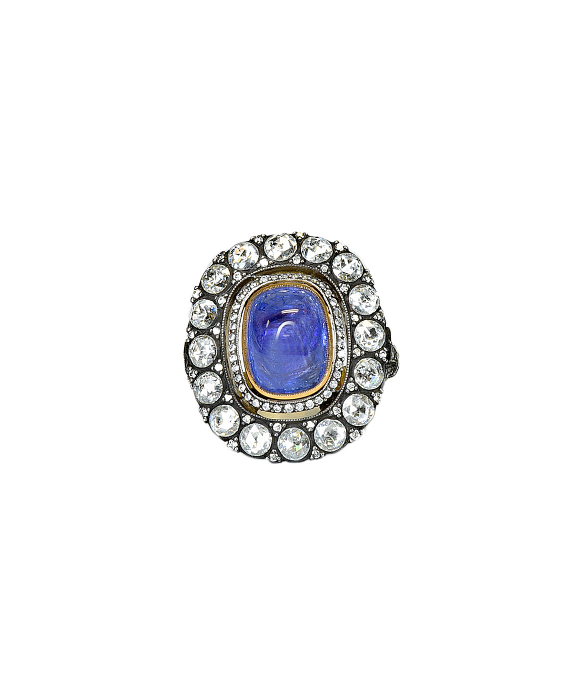 Tanzanite ring with rose cut diamonds