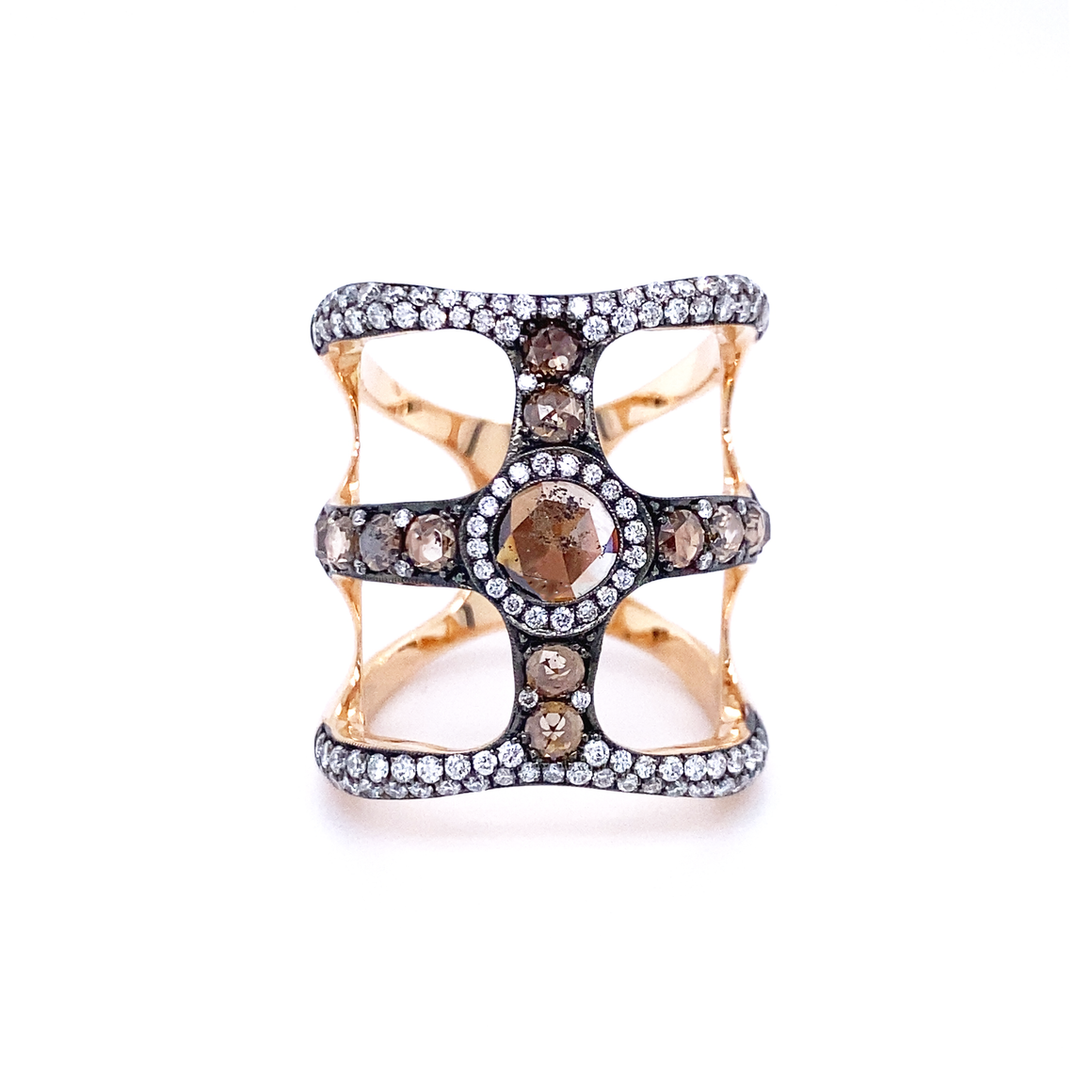 Cognac Diamond Cage Ring - Lesley Ann Jewels