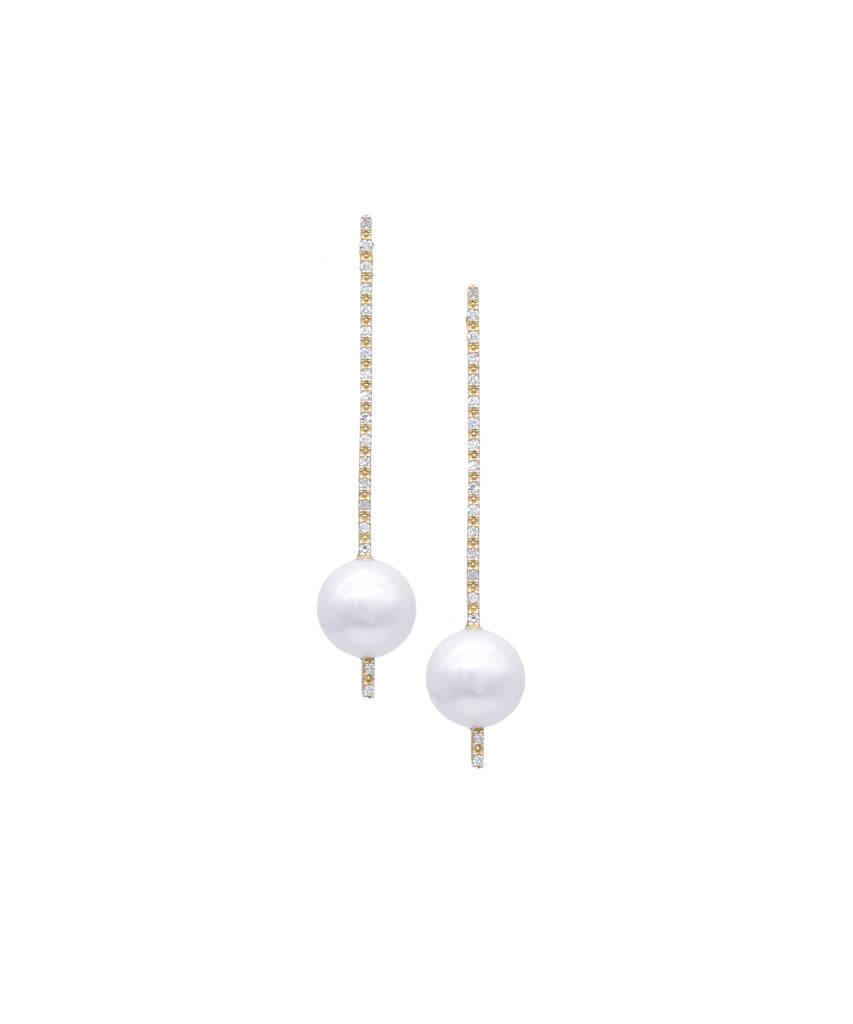 Diamond and Pearl Drop Stick Earrings - Lesley Ann Jewels
