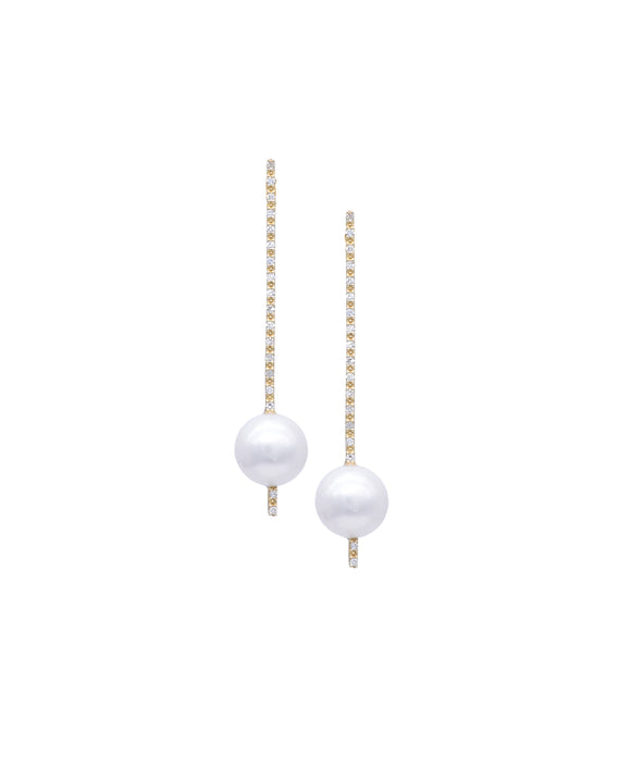 Pearl and diamond stick earrings - Lesley Ann Jewels