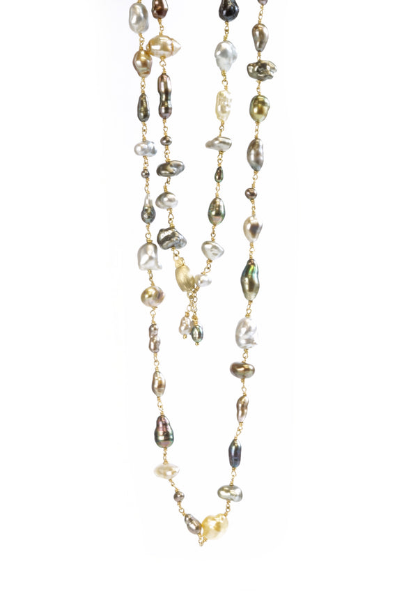 Long Keshi Pearl Necklace - Lesley Ann Jewels