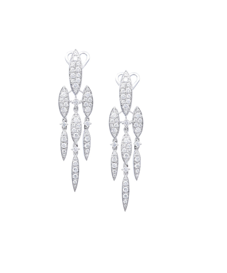 White gold marquise drop earrings