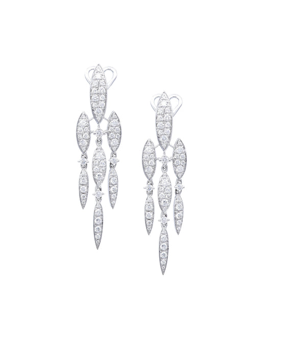 White gold marquise drop earrings - Lesley Ann Jewels