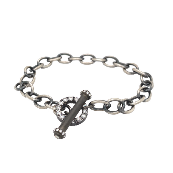Oval Link Diamond Toggle Bracelet - Lesley Ann Jewels