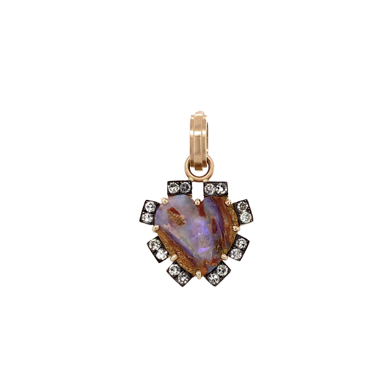 Rose Gold Opal Heart Pendant - Lesley Ann Jewels