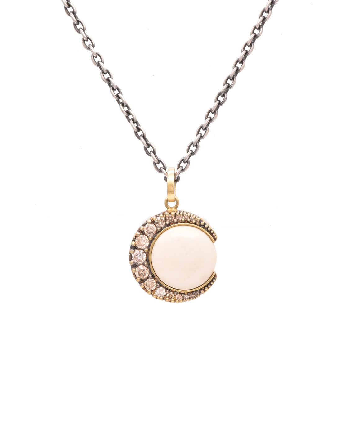 Champagne diamond crescent moon pendant