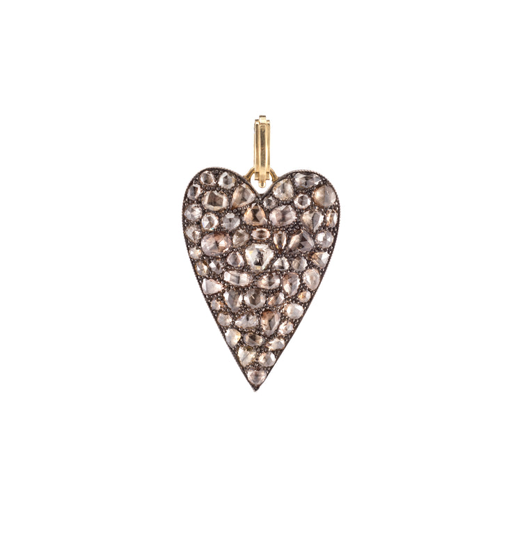 Champagne Rose Cut Heart Pendant - Lesley Ann Jewels