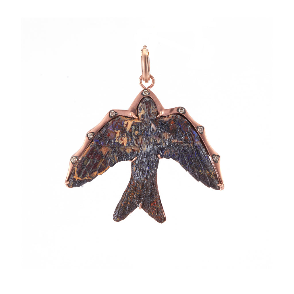 Carved Opal Swallow Pendant - Lesley Ann Jewels