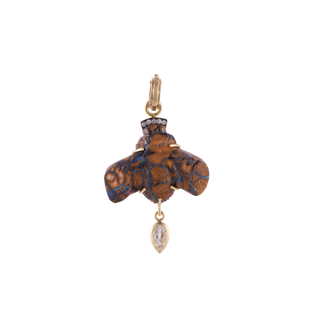 Hand Carved Opal Bee with Pear Shaped Diamond - Lesley Ann Jewels