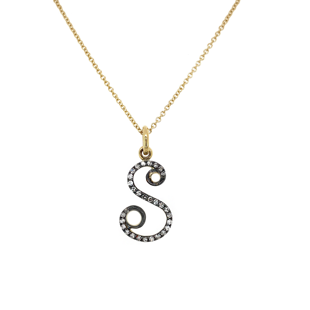 Diamond S Initial Necklace