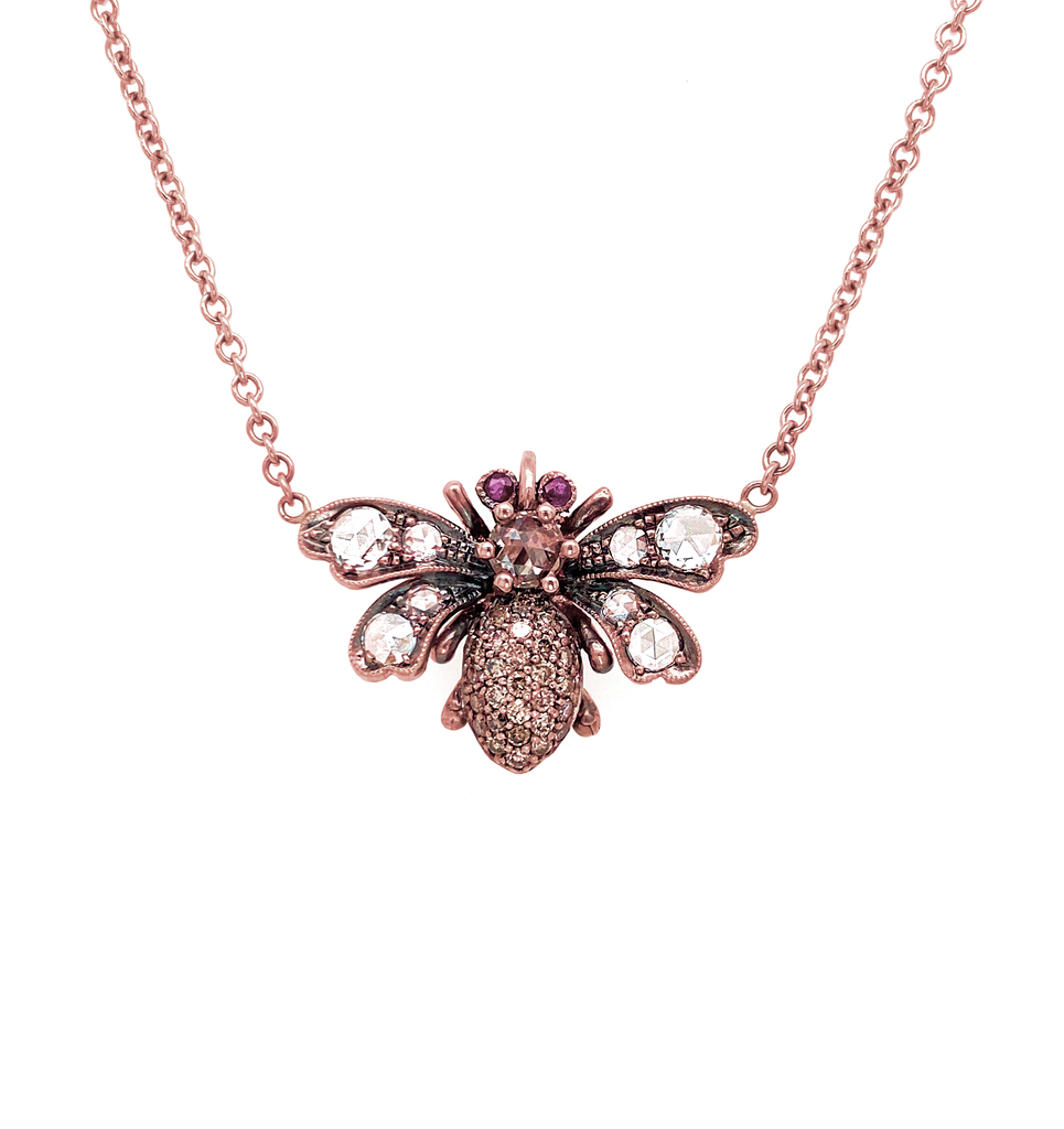 Champagne Diamond Bee Pendant - Lesley Ann Jewels
