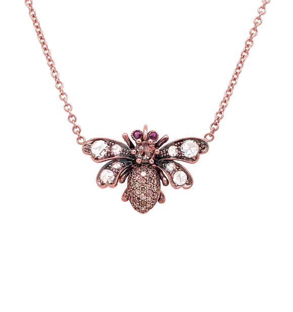 Champagne Diamond Bee Pendant