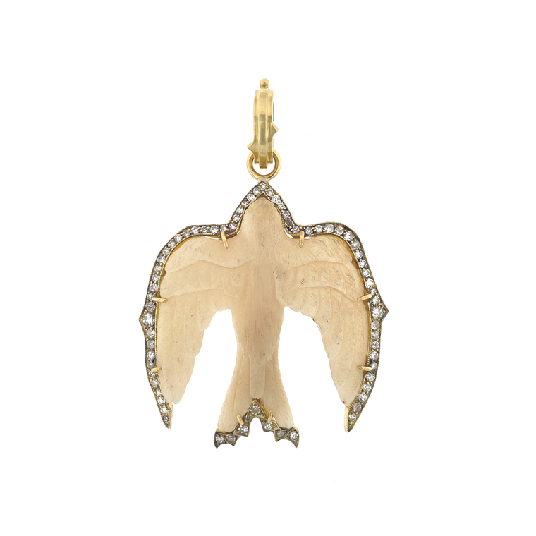 Carved Swallow Pendant - Lesley Ann Jewels