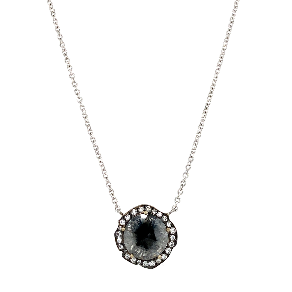 Rough Diamond Slice Pendant on Chain - Lesley Ann Jewels