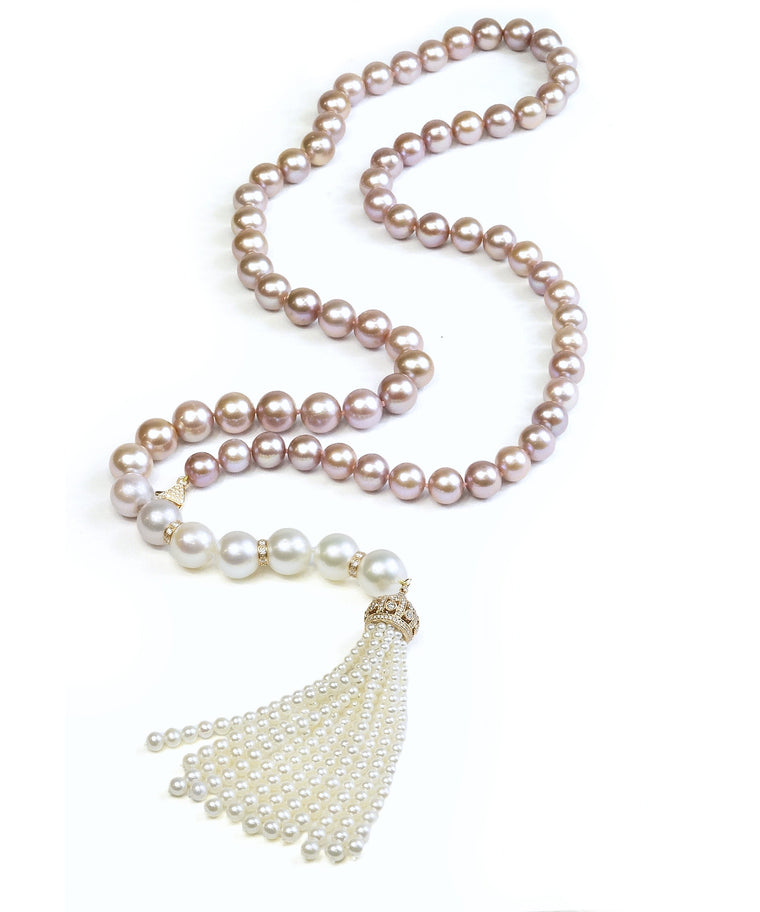 Ombré pink and white pearl necklace with tassel
