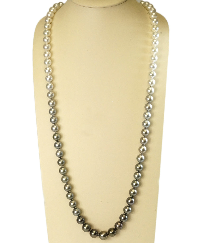 Ombré black and white pearl necklace