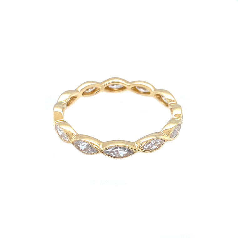 Marquis Diamond Eternity Band in Yellow Gold - Lesley Ann Jewels