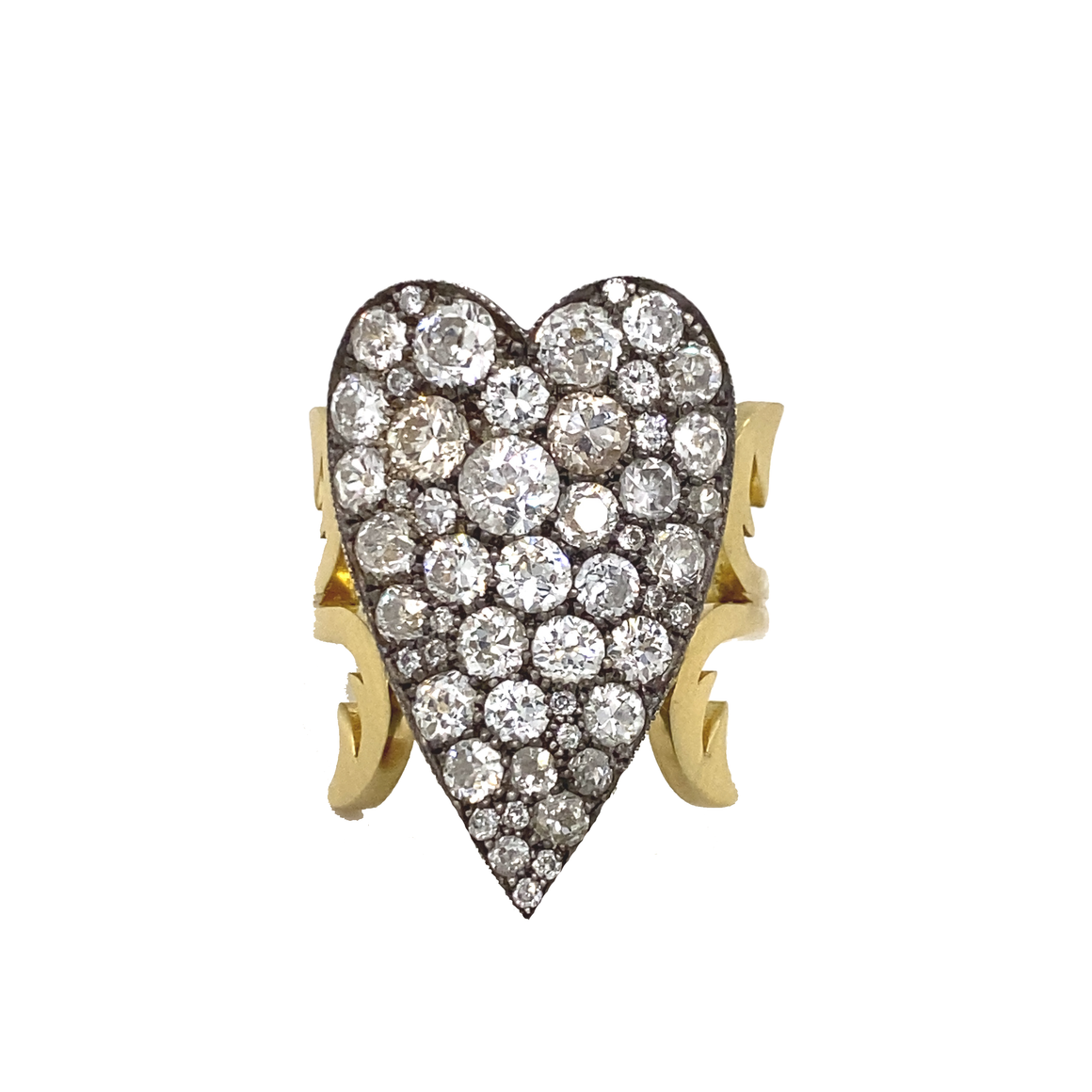 Diamond Ten Table Heart Ring - Lesley Ann Jewels