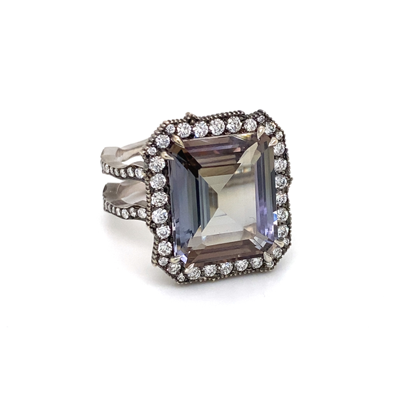 Tanzanite Double Banded Ring - Lesley Ann Jewels