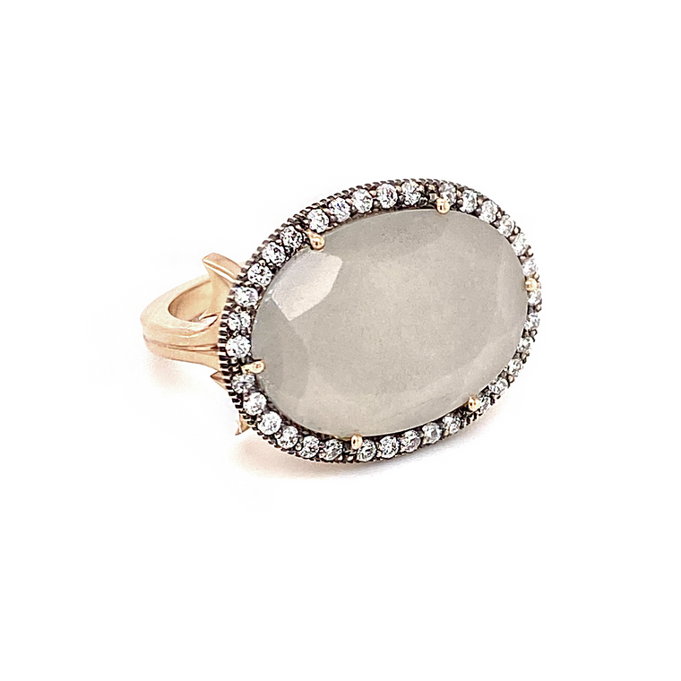 Grey Moonstone Ring - Lesley Ann Jewels