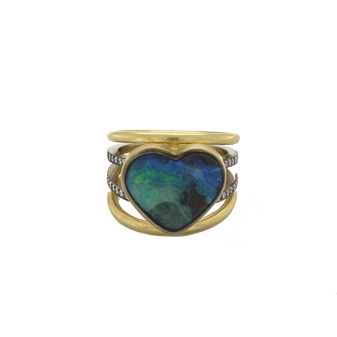 Opal Heart 4 Banded Ring - Lesley Ann Jewels