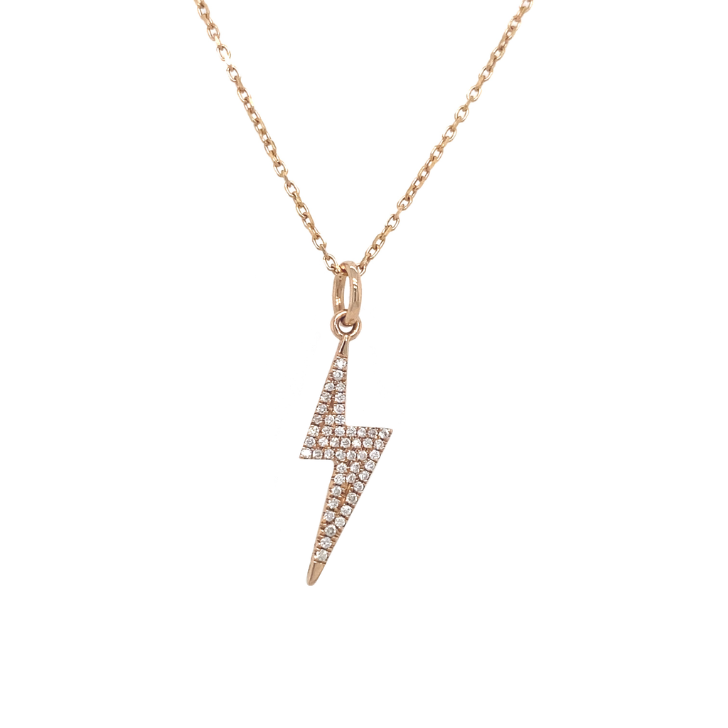 Paved Lightning Bolt Necklace - Lesley Ann Jewels