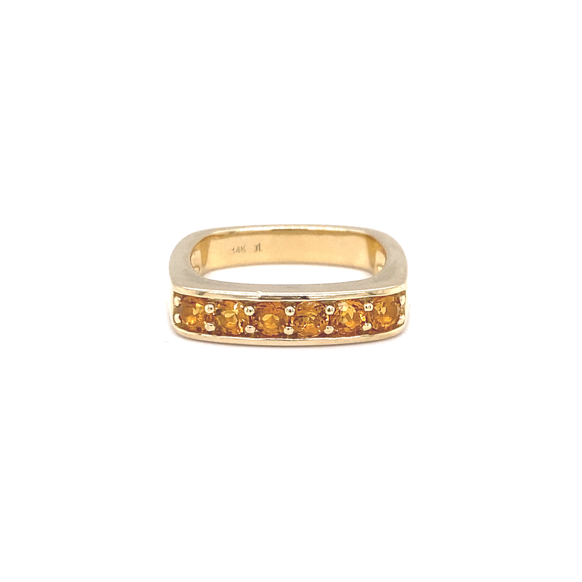 Large Citrine Square Stacking Band - Lesley Ann Jewels