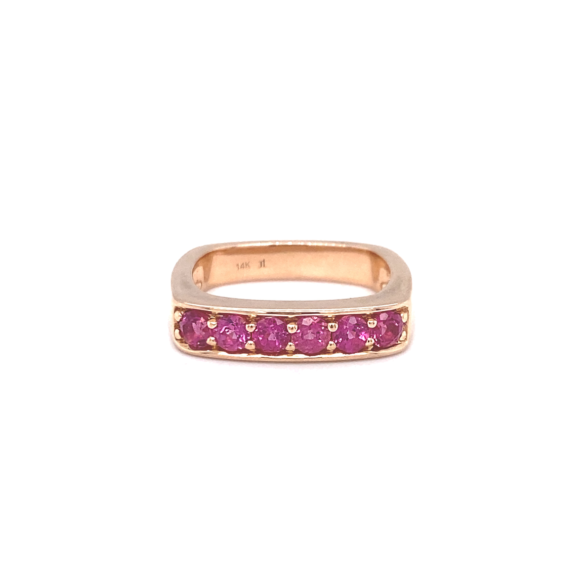 Large Pink Tourmaline Square Stacking Band - Lesley Ann Jewels