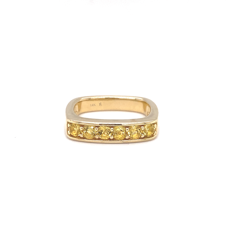 Large Yellow Beryl Square Stacking Band - Lesley Ann Jewels