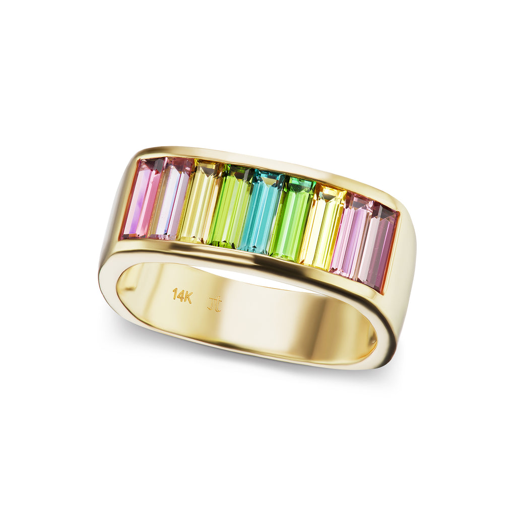 Cirque Limited Edition Medium Baguette Square Stacking Band with Tourmaline Ombré - Lesley Ann Jewels