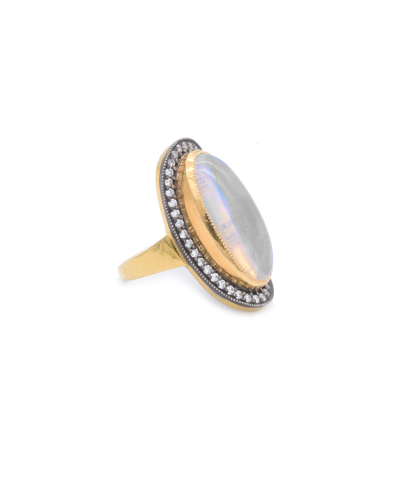 Elongated Oval Opal Ring - Lesley Ann Jewels