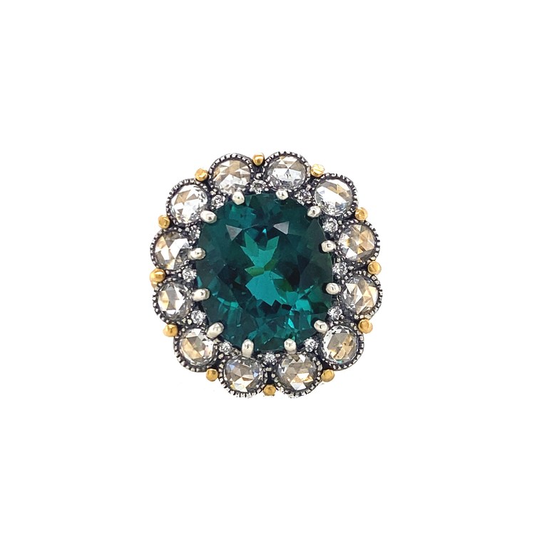 Peacock Tourmaline Ring - Lesley Ann Jewels