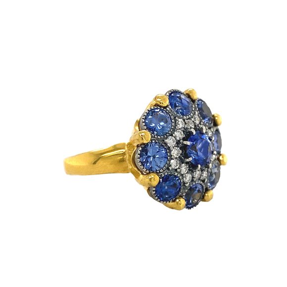 Blue Sapphire Cupcake Ring - Lesley Ann Jewels
