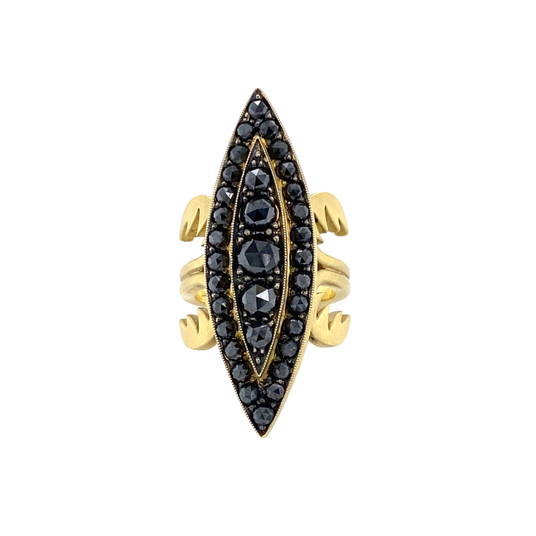 Black Marquis Ring - Lesley Ann Jewels