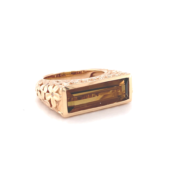 Floral Citrine Baguette Ring - Lesley Ann Jewels