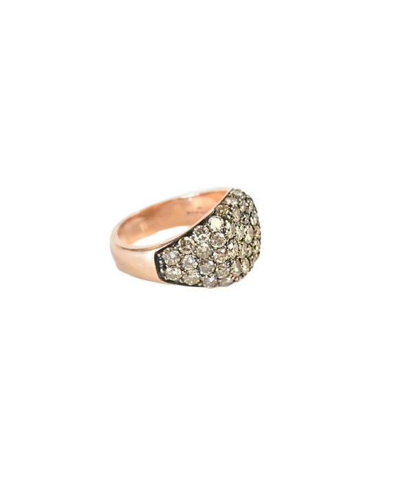 Champagne diamond signet ring
