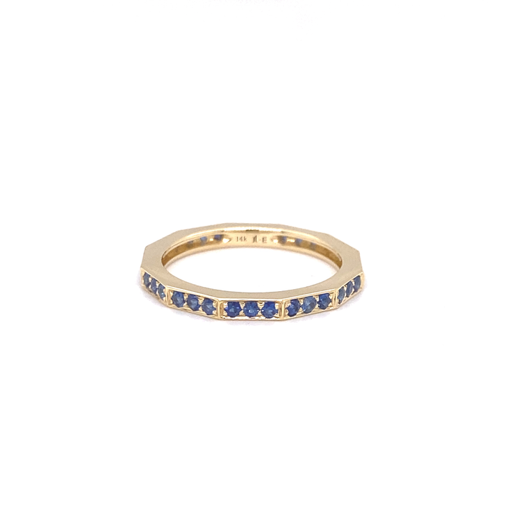 Blue Sapphire Angled Eternity Band - Lesley Ann Jewels
