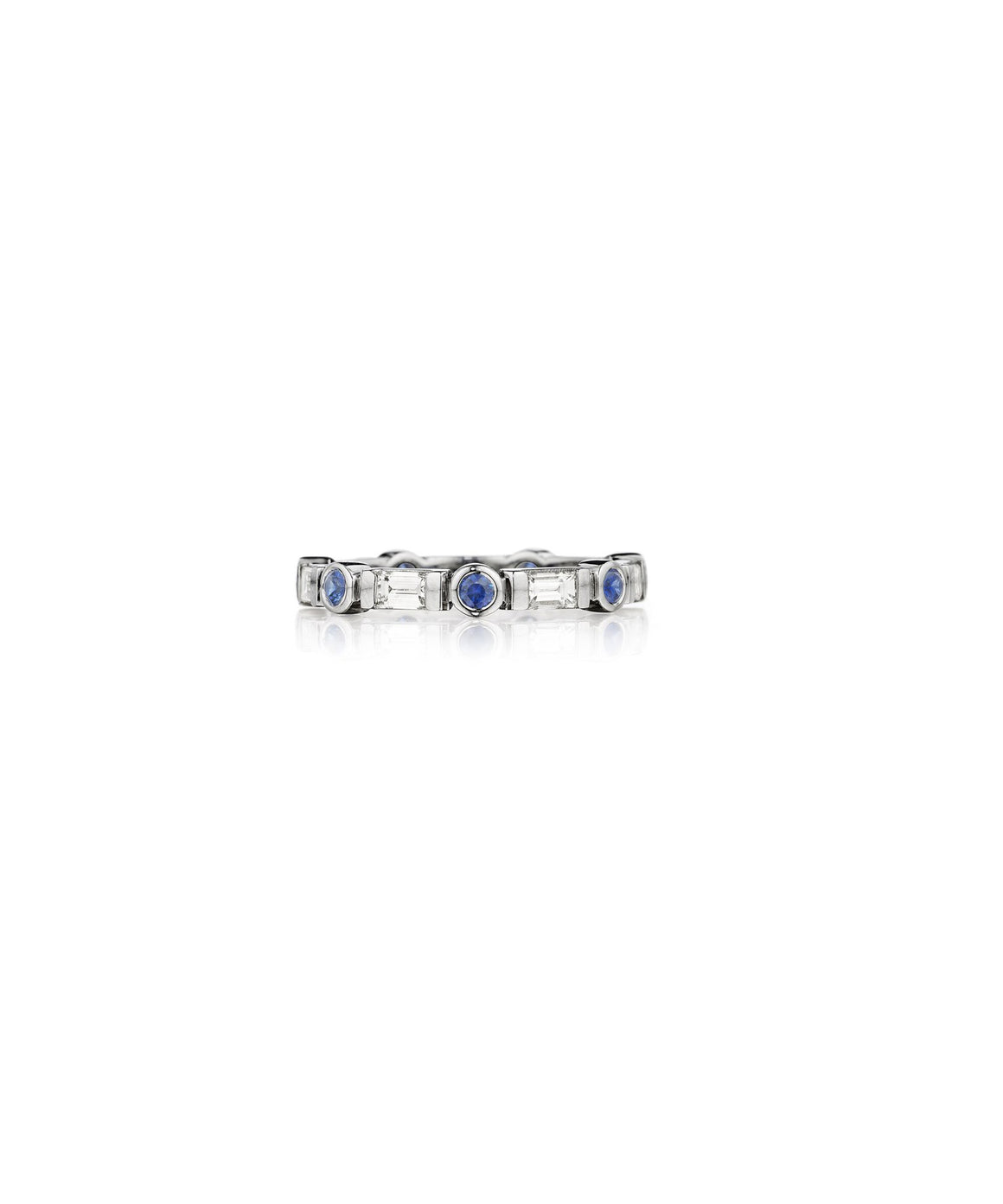 Baguette and round sapphire band
