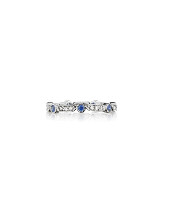 Bar and round sapphire eternity ring