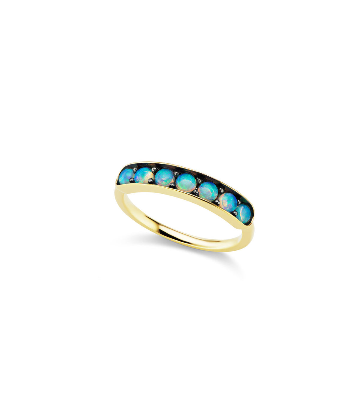 Large half eternity band with opals