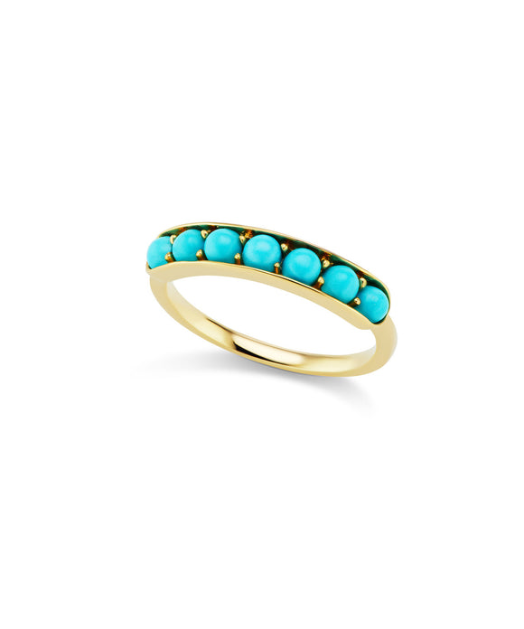 Cirque Large Half Eternity Band with Turquoise Cabochons - Lesley Ann Jewels