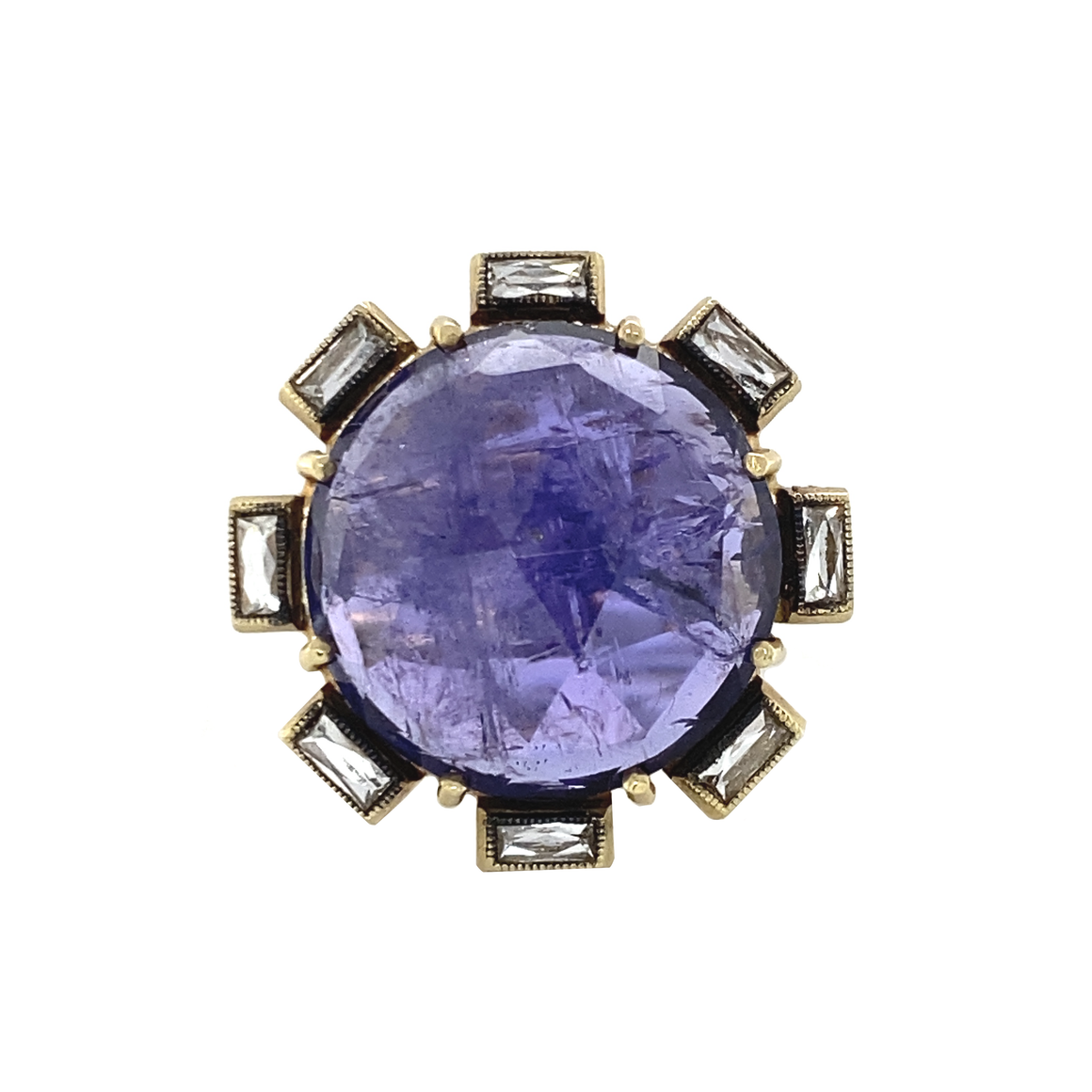 Round Faceted Tanzanite Flower Ring - Lesley Ann Jewels