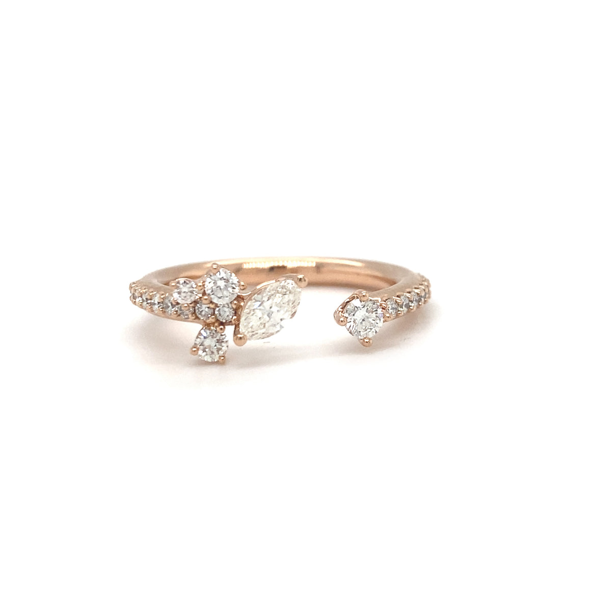 Marquise and Round Diamond Open Band