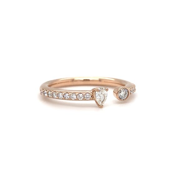 Round and Pear Shape Diamond Open Band