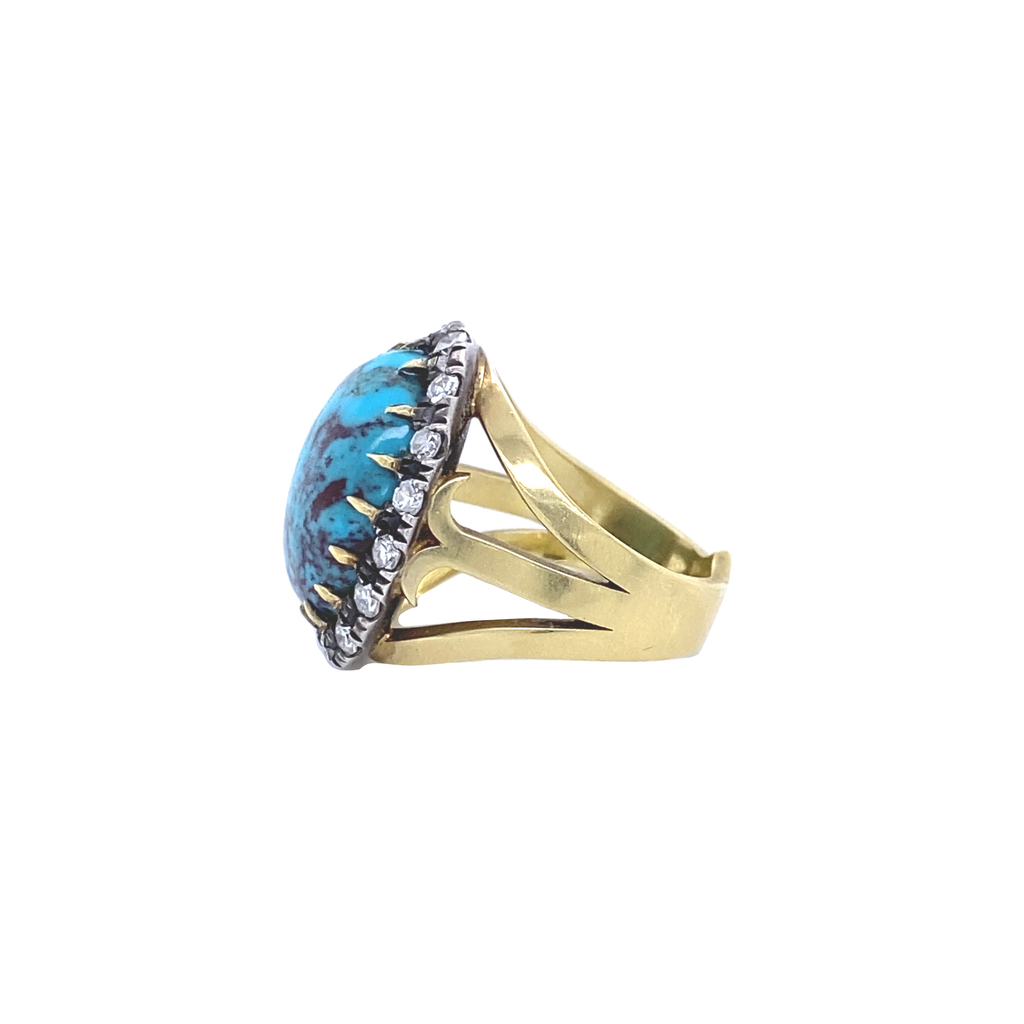 Oval Turquoise Ring - Lesley Ann Jewels