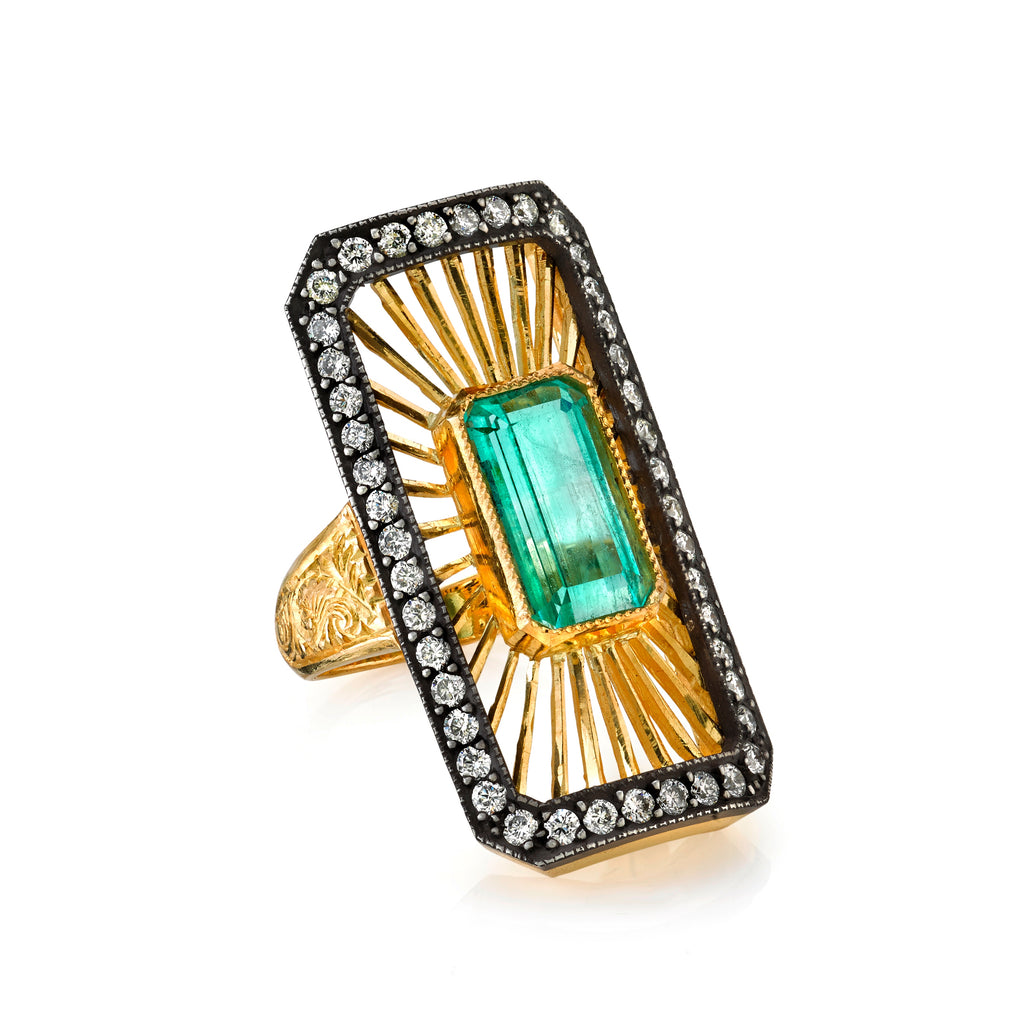 Deco Emerald Ring - Lesley Ann Jewels